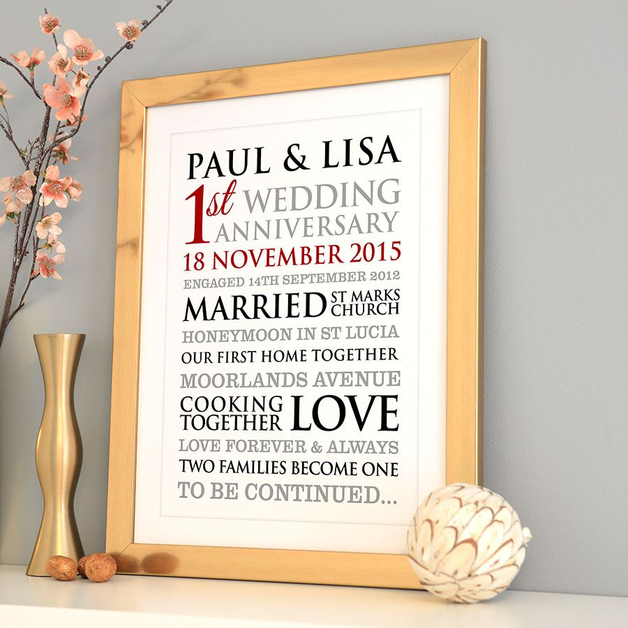 Personalised 1st Wedding Anniversary Art