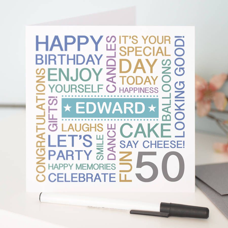 Personalised 50th Birthday Card Colour Option Please 2478 P