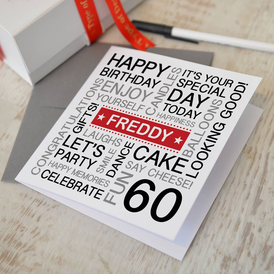 Personalised 60th Birthday Card Colour Option Please 2517 P