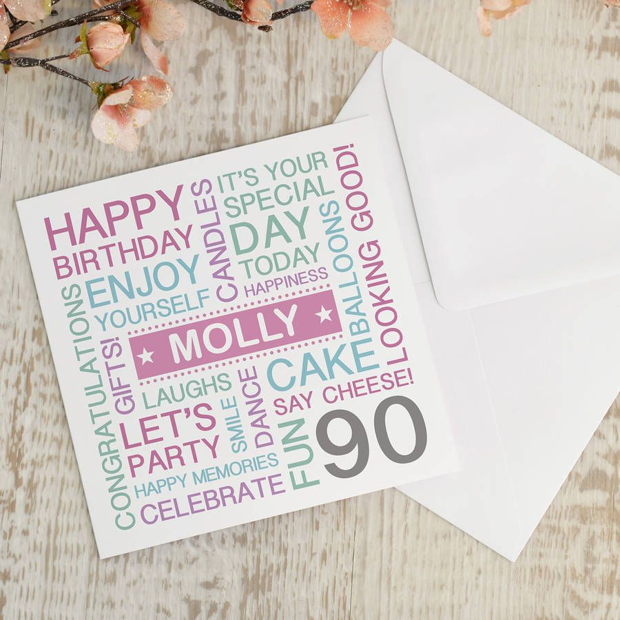Personalised 90th Birthday Card Colour Option Please 3360 P