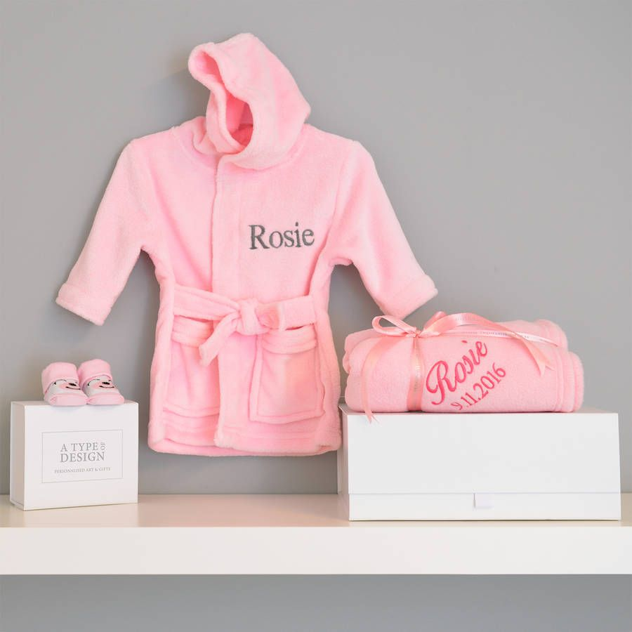 Personalised Dressing Gown And Blanket Baby Girl Hamper