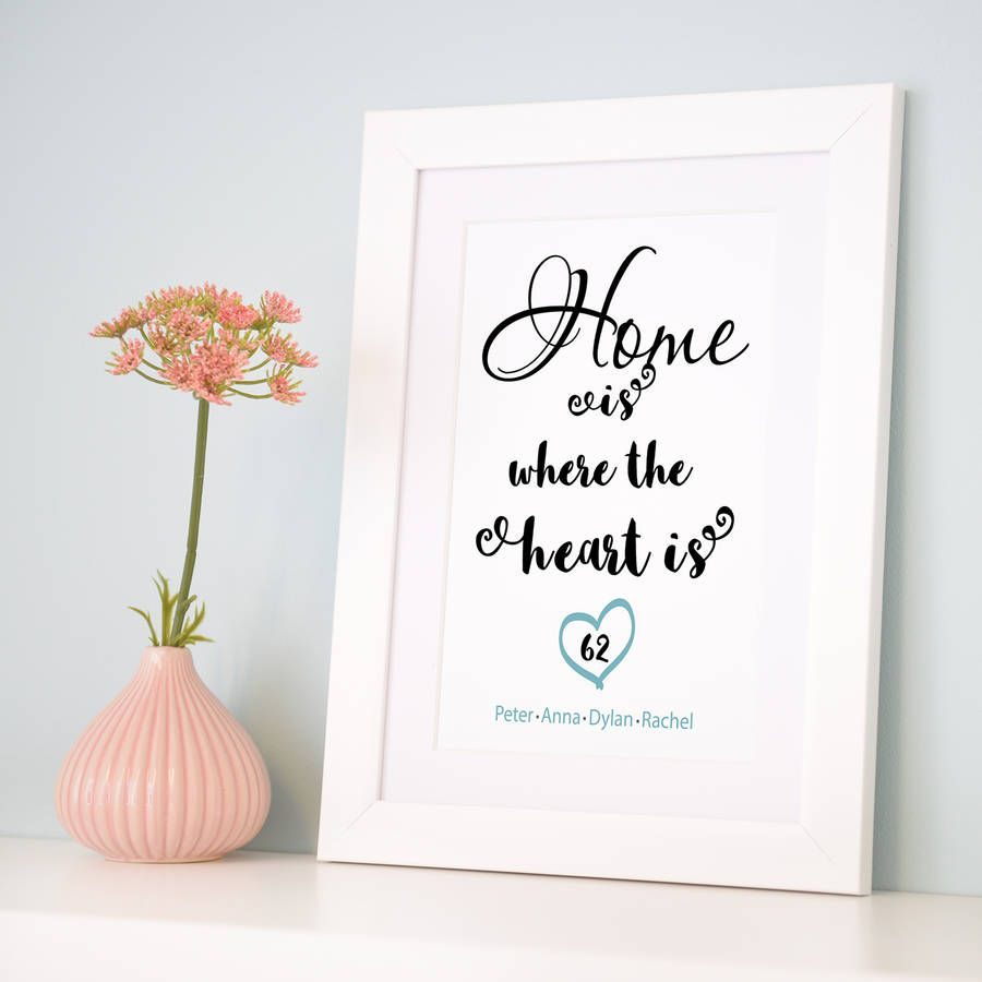 personalised home is where the heart is art