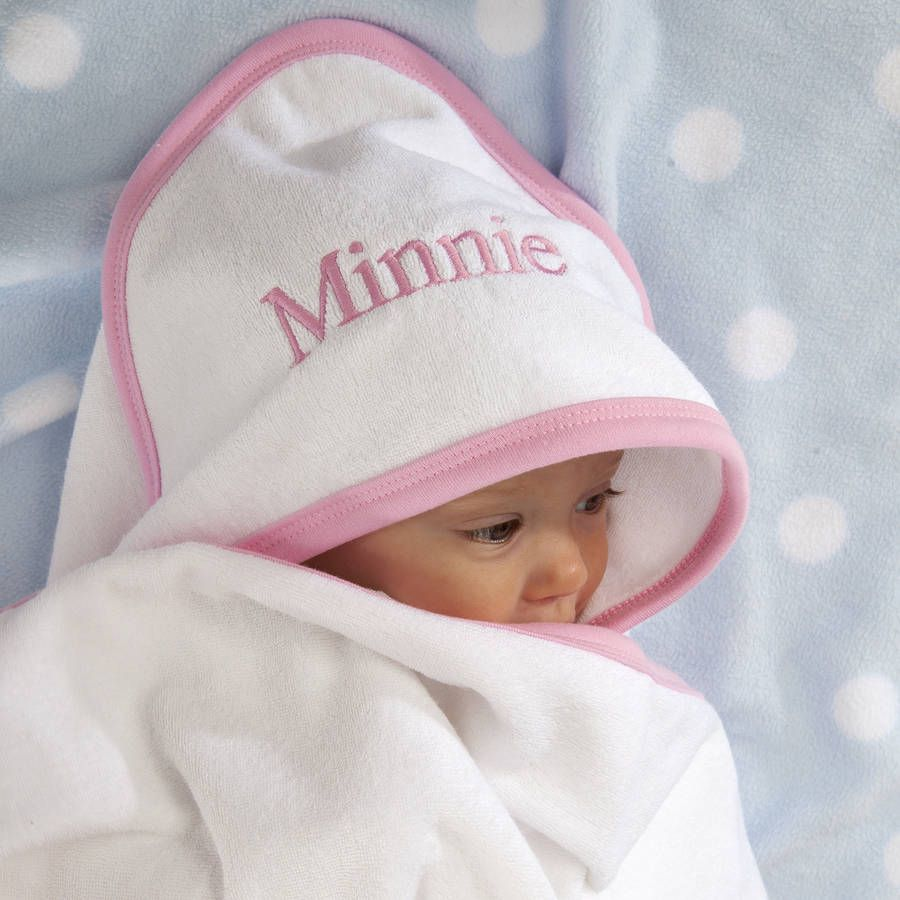 personalised hooded baby towel with pink or blue trim. Black Bedroom Furniture Sets. Home Design Ideas