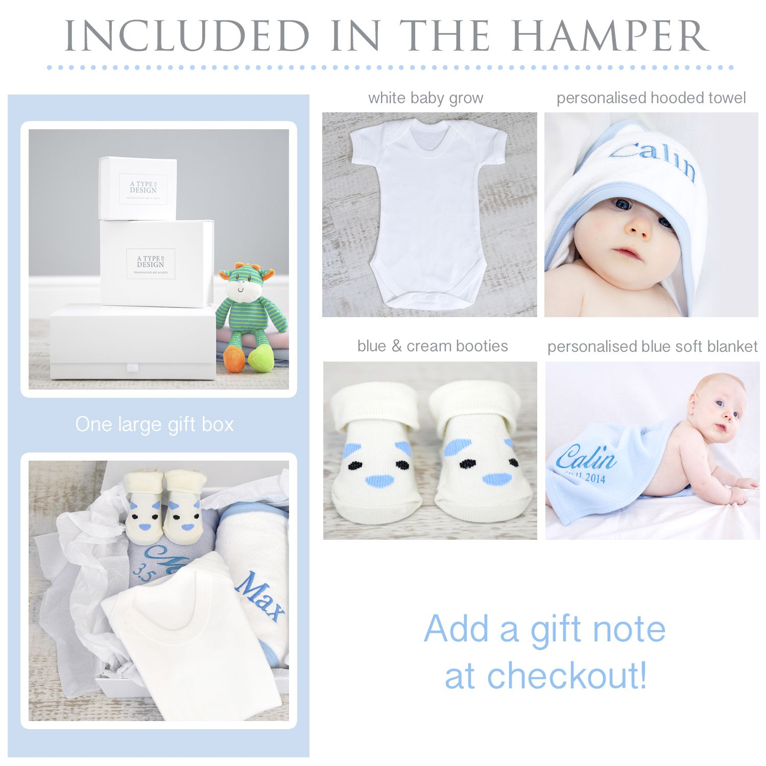 Personalised baby gift New Baby Boys Hooded towel