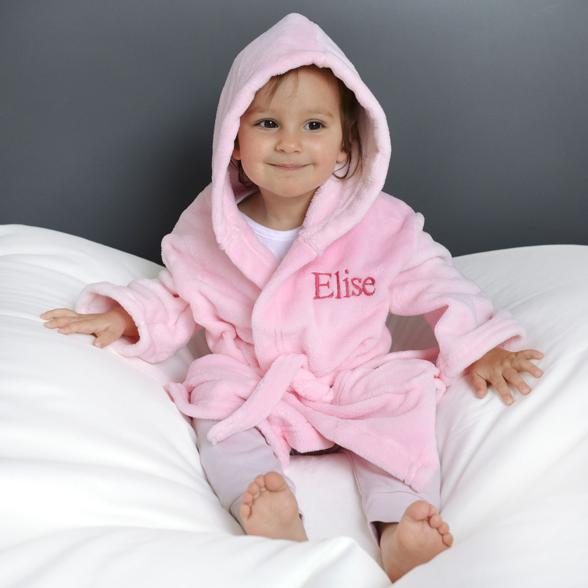 WHITE// BLUE KIDS..GIRLS //BOYS PERSONALISED DRESSING GOWN PINK BABYS
