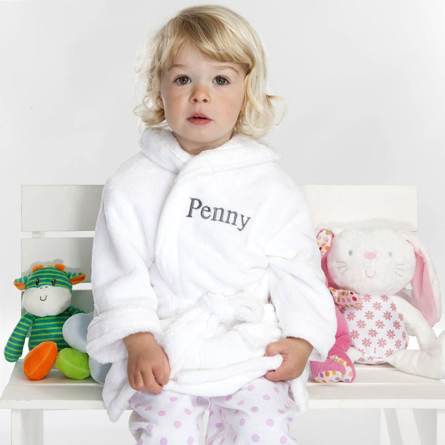 Personalised Soft Baby Child s Dressing Gown In White