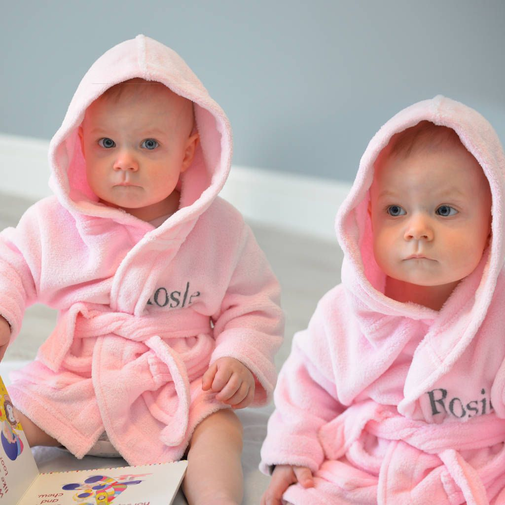 00c25e59a Personalised Twins Soft Baby Dressing Gowns In Pink