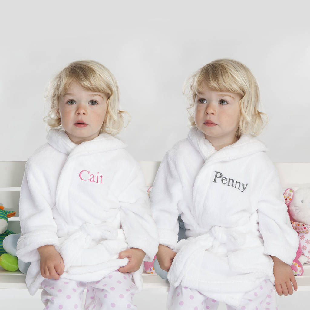 1794d54637 Personalised Twins Soft Child s Dressing Gowns In White