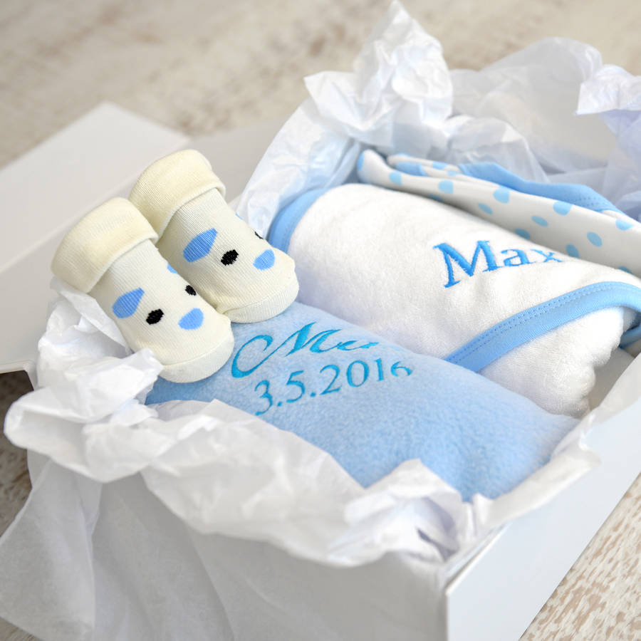 Personalised new baby boy gift hamper negle Gallery